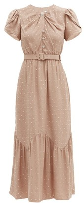 Self-Portrait Belted Crystal-embellished Crepe Midi Dress - Nude