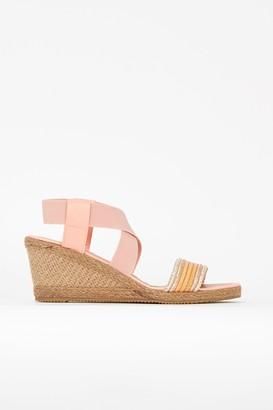 Wallis Pink Elastic Strap Wedge Sandals