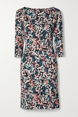 Erdem Reese Floral-print Stretch-ponte Dress - Black