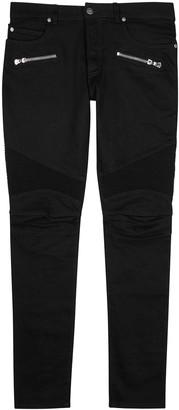 Balmain Black slim-leg biker jeans