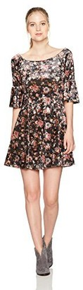 Angie Women's Floral Crushed Velvet Skater Dress with 1/2 Bell Sleeves