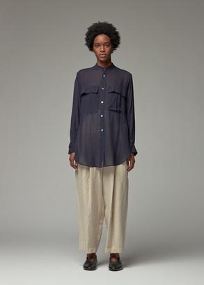 Y's by Yohji Yamamoto Women's Double Pocket Shirt in Navy Size 2