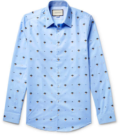 Gucci Slim-Fit Embroidered Cotton Shirt