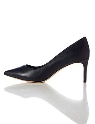 find. Point Mid Heel Leather Court Closed-Toe Pumps, Black)