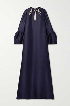 Reem Acra Cutout Metallic-trimmed Satin-pique Gown - Blue