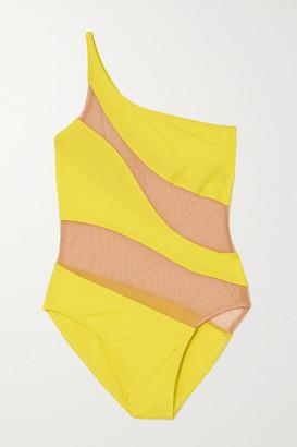 Norma Kamali Snake One-shoulder Mesh-paneled Swimsuit - Chartreuse