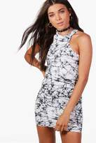 boohoo Petite Ivy Marble Print Racer Front Bodycon Dress