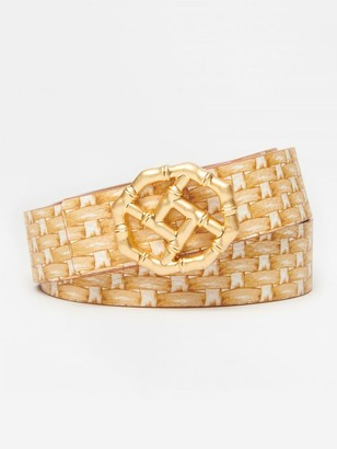 J.Mclaughlin Ruby Reversible Leather Belt in Printed Wicker