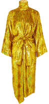 Gucci Bow-detailed Sequined Silk-georgette Midi Dress - Gold