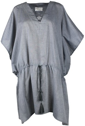 Maraina London Hary Hand-Embroidered Grey Cotton Cover-Up Dress