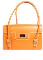 Lambertson Truex Orange Leather Satchel Tote Handbag