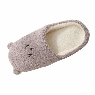 OverDose Home Ladies' Furry Memory Foam Slippers Lightweight Warm Plush Non-Slip Cartoon Bear Shoes Indoor House Slipper for Women Coffee