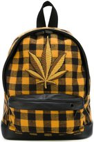 Palm Angels logo patch checked backpack - men - Cotton/Leather/Polyamide/metal - One Size