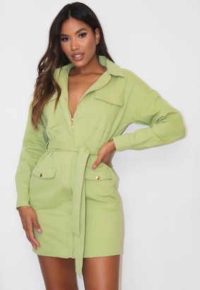Missguided Sage Belted Utility Shirt Dress