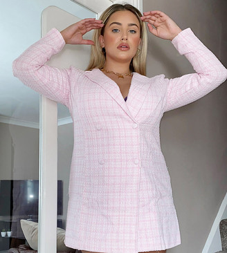 Lasula Plus boucle blazer dress in pink