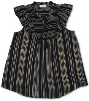 Style&Co. Style & Co Petite Striped Smocked Ruffle-Sleeve Top, Created for Macy's