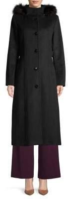 Calvin Klein Faux Fur-Trim Hooded Wool-Blend Coat