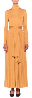 The Row Dominique Long-Sleeve Turtleneck Tie-Waist Maxi Dress