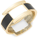 House Of Harlow Leather-Accented Goldtone Bangle Bracelet
