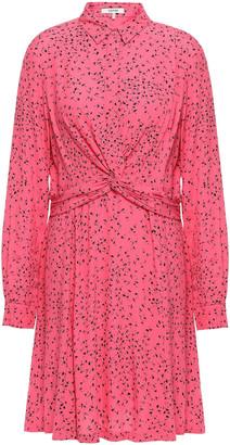 Ganni Twist-front Floral-print Crepe Mini Dress