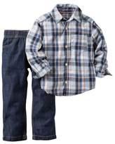 Carter's Boys Baby 2 Piece Playwear Pant Set Green Plaid Denim 6 Months