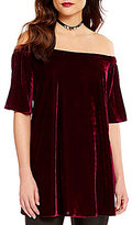 Gianni Bini Hope Short Sleeve Off-The-Shoulder Velvet Blouse