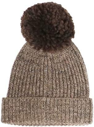 Etereo Rib-Knit Giant Pom Beanie