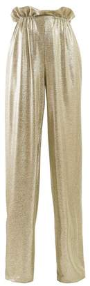 Balmain Paperbag-waist Lame Trousers - Womens - Gold