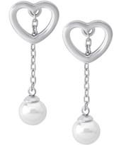 Majorica Sterling Silver & 6MM Organic Man-Made Pearl Heart Drop Earrings