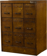 Rejuvenation Steel Filing Cabinet w/ Faux Wood Grain Finish c1930s