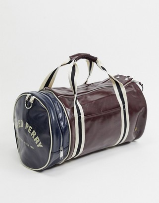 Fred Perry colour block barrel bag in burgundy