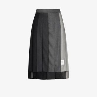 Thom Browne Below Knee Dropped Back Pleated Skirt In Super 120's Wool Flannel