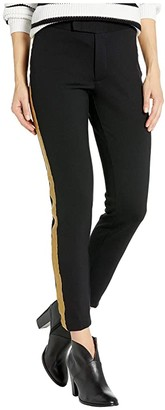 Lauren Ralph Lauren Metallic-Trim Ponte Pants (Polo Black) Women's Casual Pants