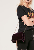 Missguided Purple Velvet Croc Effect Tassel Trim Clutch Bag