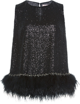 Dice Kayek Sleeveless Top with Feathers