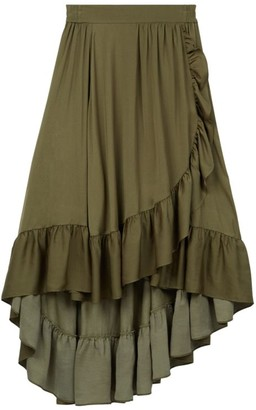 Maje Johno Ruffled Asymmetric Midi Skirt