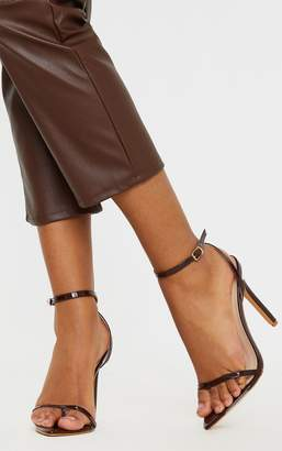 PrettyLittleThing Chocolate Toe Thong Ankle Strap Point Toe Heeled Sandal