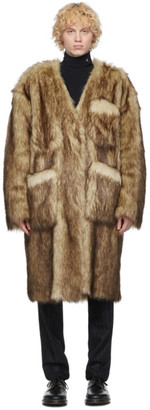 Raf Simons Reversible Black and Off-White Faux-Fur Labo Coat