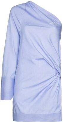 Off-White One-Shoulder Cotton Mini Dress