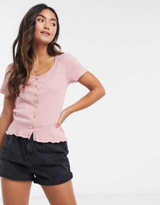 Brave Soul button front t-shirt in dusty rose