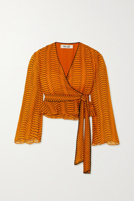 Diane von Furstenberg Julietta Printed Silk-chiffon Wrap Top - Orange