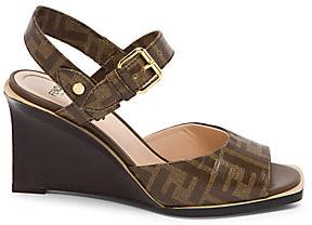 Fendi Women's Logo Wedge Sandals