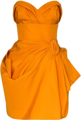 Carolina Herrera Gathered Bandeau Mini Dress