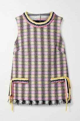 OSCAR DE LA RENTA - Braided Frayed Checked Tweed Top - Pink