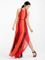 Halston Modern Colorblocked Georgette Gown