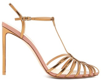 Francesco Russo Caged T-bar Metallic-leather Sandals - Womens - Bronze