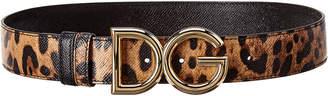 Dolce & Gabbana Leopard Print Logo Reversible & Adjustable Leather Belt