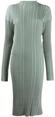 Acne Studios Ribbed Long-Sleeve Midi Dress