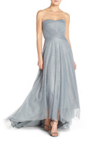 ML Monique Lhuillier Bridesmaids Pleat Tulle Strapless Gown