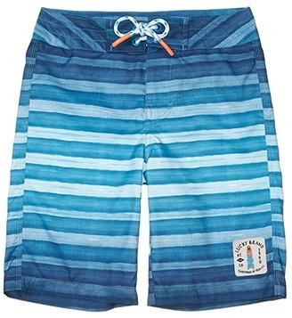 Lucky Brand Kids Ombre Stripe Boardshorts (Big Kids) (Bachelor Button) Boy's Swimwear